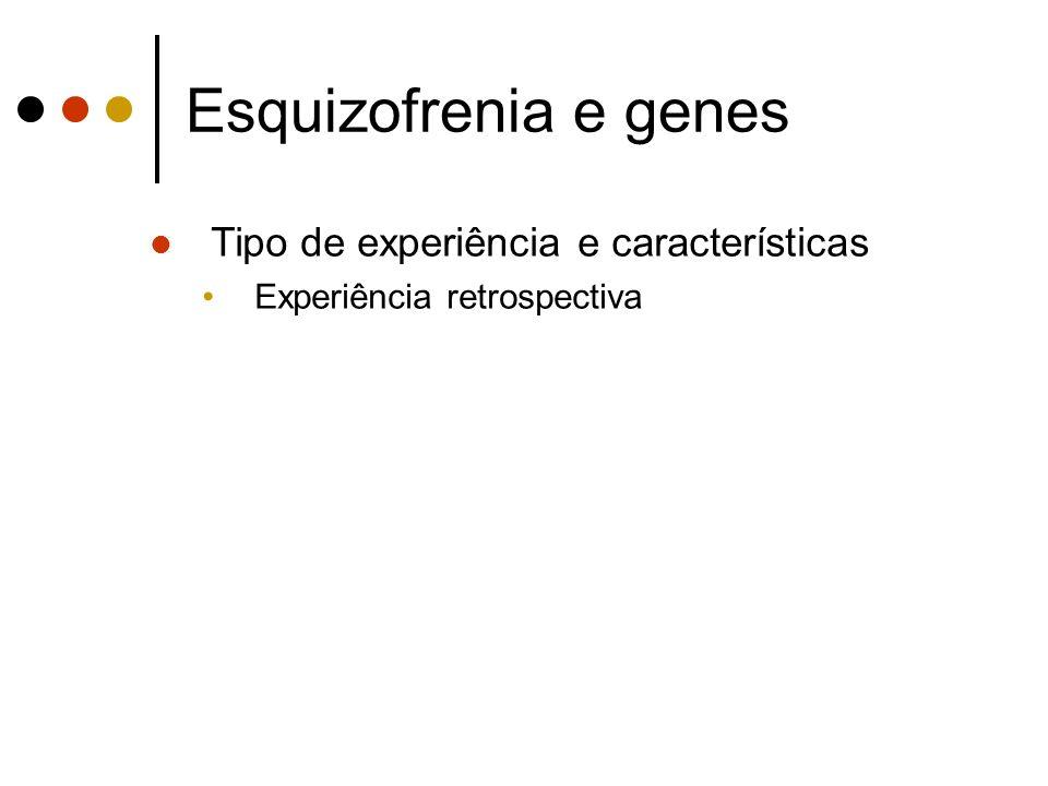 Esquizofrenia e genes Tipo de experiência e características Experiência retrospectiva