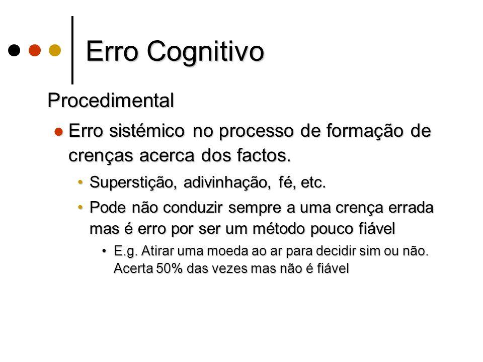 Erro Cognitivo Procedimental Procedimental Erro sistémico no processo de formação de crenças acerca dos factos.