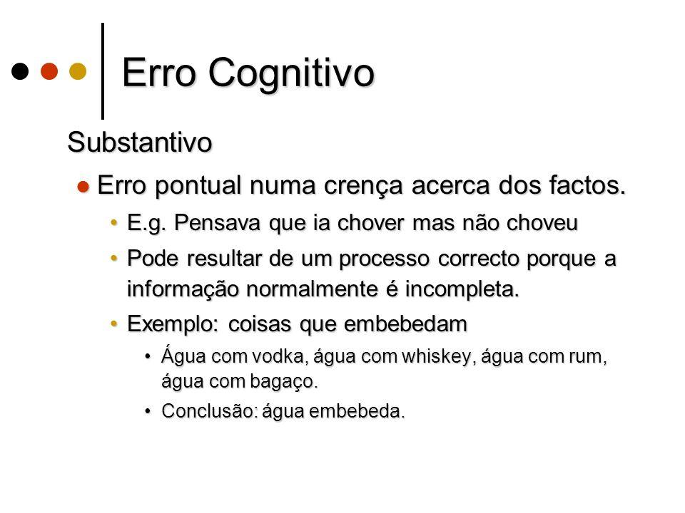 Erro Cognitivo Substantivo Substantivo Erro pontual numa crença acerca dos factos.