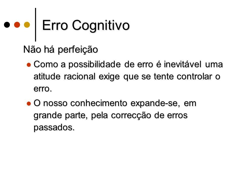 Erro Cognitivo Não há perfeição Não há perfeição Como a possibilidade de erro é inevitável uma atitude racional exige que se tente controlar o erro.