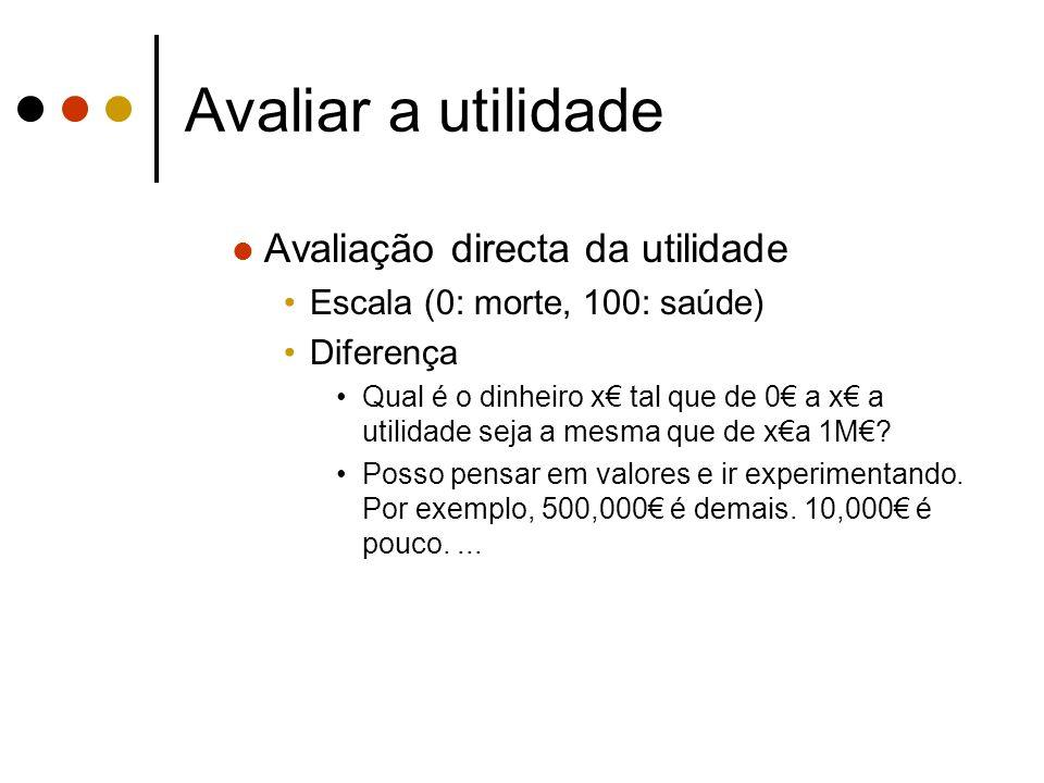 Avaliar a utilidade Avaliação directa da utilidade Escala (0: morte, 100: saúde) Diferença Qual é o dinheiro x tal que de 0 a x a utilidade seja a mes