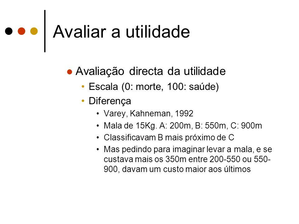 Avaliar a utilidade Avaliação directa da utilidade Escala (0: morte, 100: saúde) Diferença Varey, Kahneman, 1992 Mala de 15Kg. A: 200m, B: 550m, C: 90
