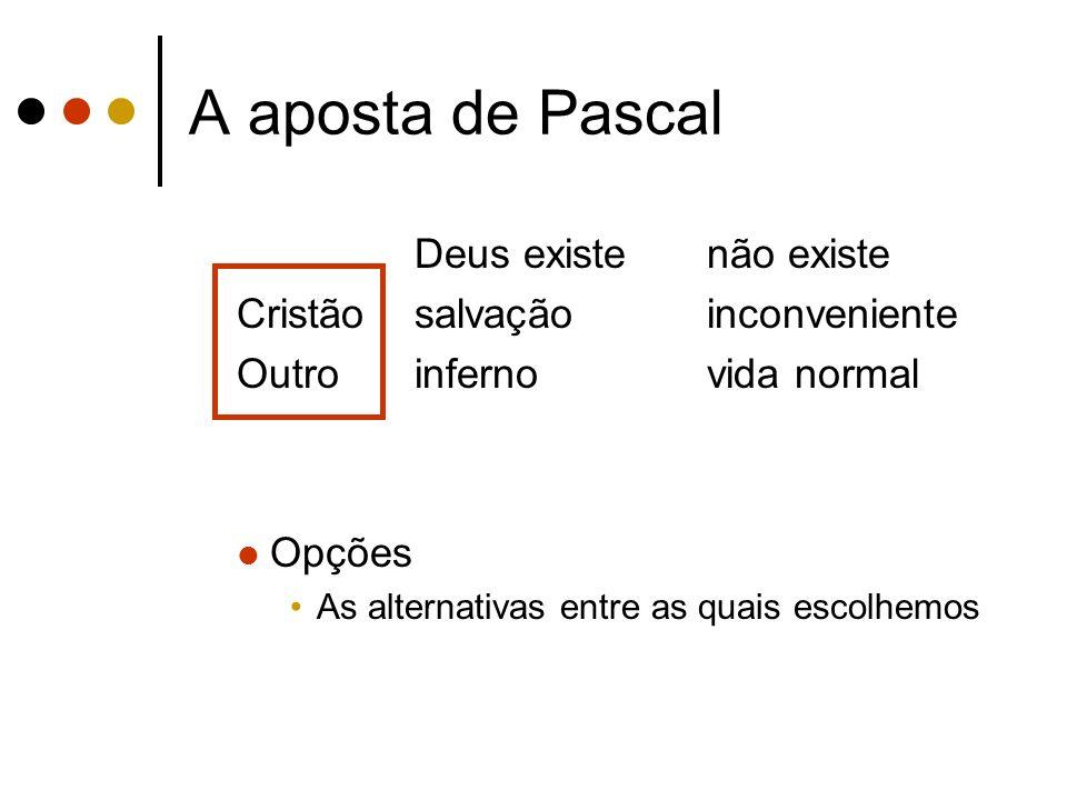 A aposta de Pascal Deus existenão existe Cristãosalvaçãoinconveniente Outroinfernovida normal Opções As alternativas entre as quais escolhemos