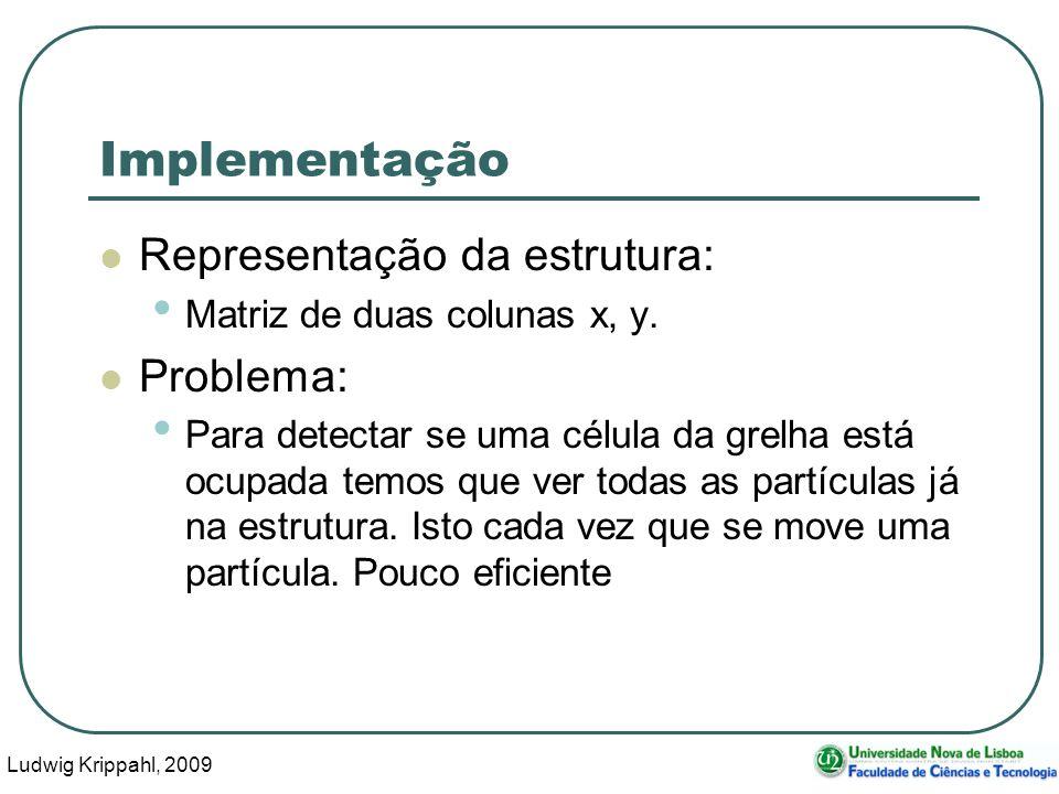 Ludwig Krippahl, 2009 18 Implementação Representação da estrutura: Matriz de duas colunas x, y. Problema: Para detectar se uma célula da grelha está o