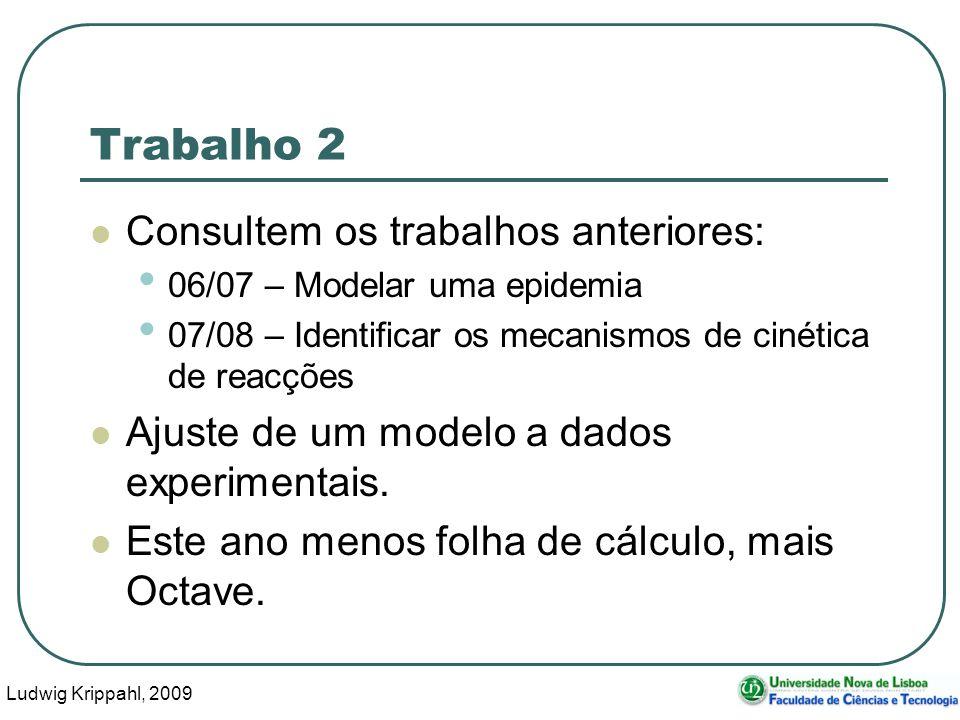 Ludwig Krippahl, 2009 33 Trabalho 2 Consultem os trabalhos anteriores: 06/07 – Modelar uma epidemia 07/08 – Identificar os mecanismos de cinética de reacções Ajuste de um modelo a dados experimentais.
