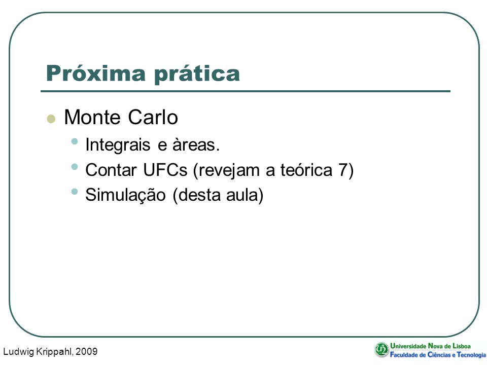 Ludwig Krippahl, 2009 34 Próxima prática Monte Carlo Integrais e àreas. Contar UFCs (revejam a teórica 7) Simulação (desta aula)