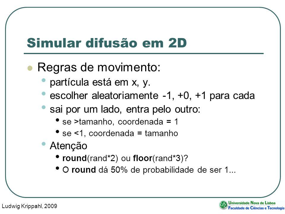 Ludwig Krippahl, 2009 8 Simular difusão em 2D Regras de movimento: partícula está em x, y. escolher aleatoriamente -1, +0, +1 para cada sai por um lad