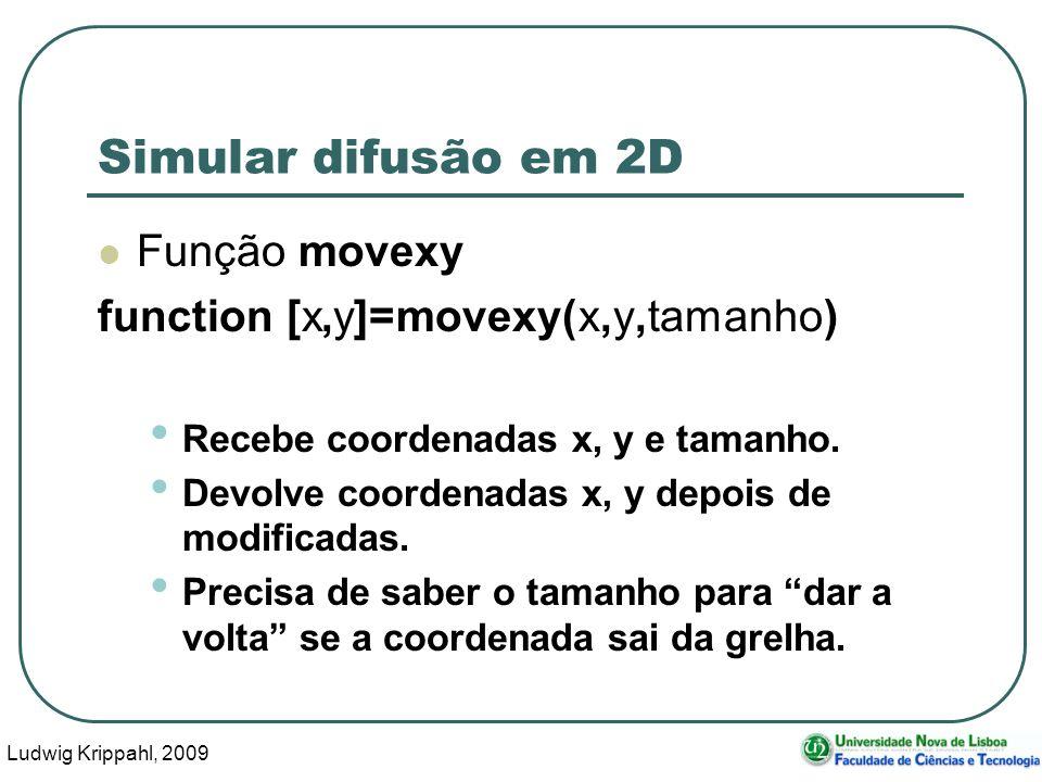 Ludwig Krippahl, 2009 9 Simular difusão em 2D Função movexy function [x,y]=movexy(x,y,tamanho) Recebe coordenadas x, y e tamanho. Devolve coordenadas
