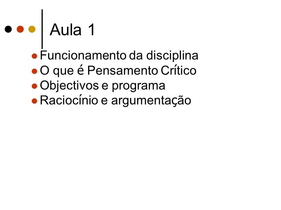 Aula 1 Funcionamento da disciplina O que é Pensamento Cr í tico Objectivos e programa Racioc í nio e argumenta ç ão