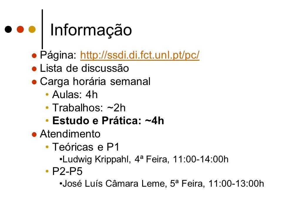 Informação Página: http://ssdi.di.fct.unl.pt/pc/http://ssdi.di.fct.unl.pt/pc/ Lista de discussão Carga horária semanal Aulas: 4h Trabalhos: ~2h Estudo e Prática: ~4h Atendimento Teóricas e P1 Ludwig Krippahl, 4ª Feira, 11:00-14:00h P2-P5 José Luís Câmara Leme, 5ª Feira, 11:00-13:00h