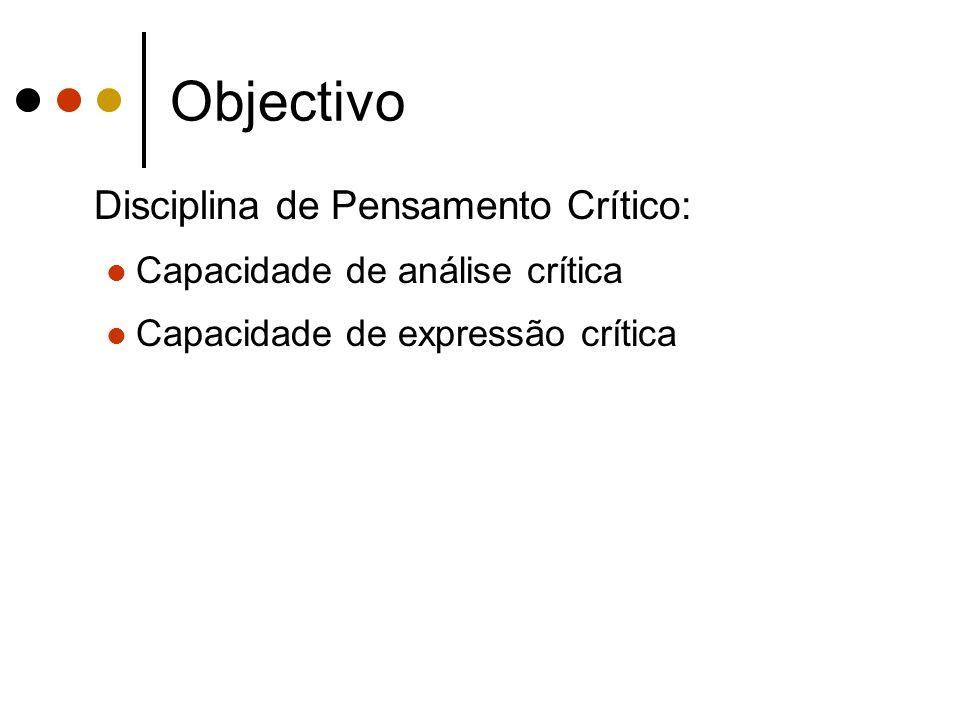 Objectivo Disciplina de Pensamento Crítico: Capacidade de análise crítica Capacidade de expressão crítica