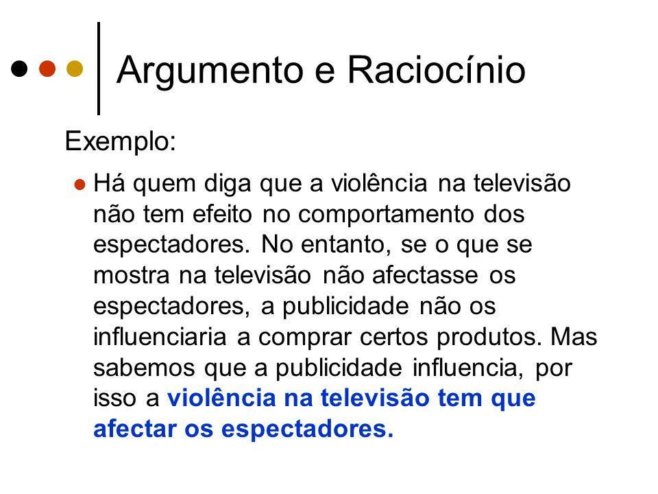 Argumento e Raciocínio Exemplo: Há quem diga que a violência na televisão não tem efeito no comportamento dos espectadores.