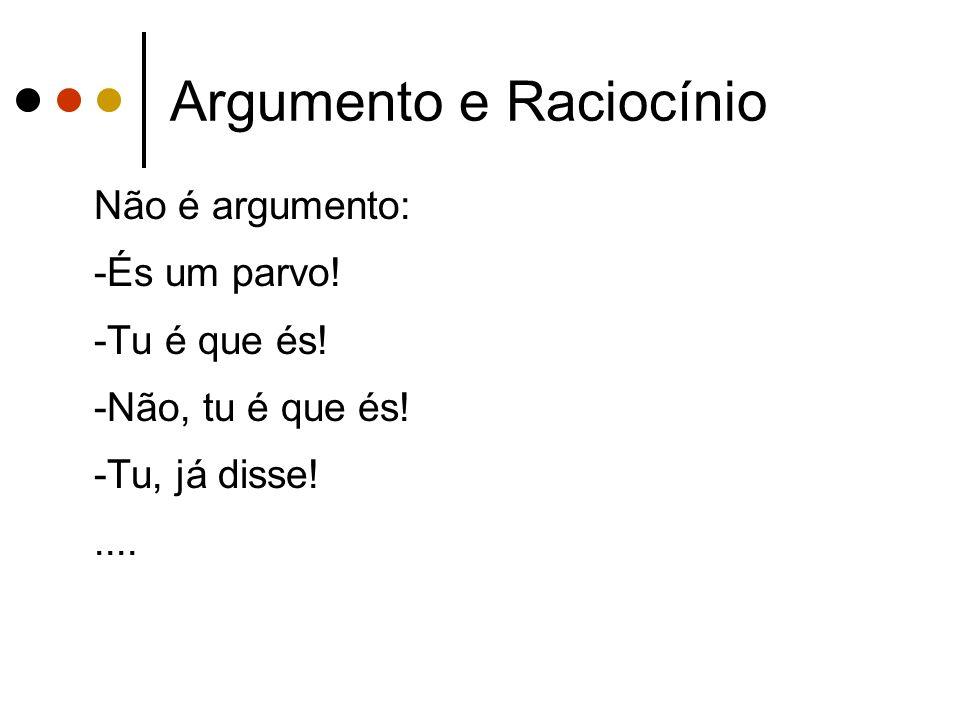 Argumento e Raciocínio Não é argumento: -És um parvo.