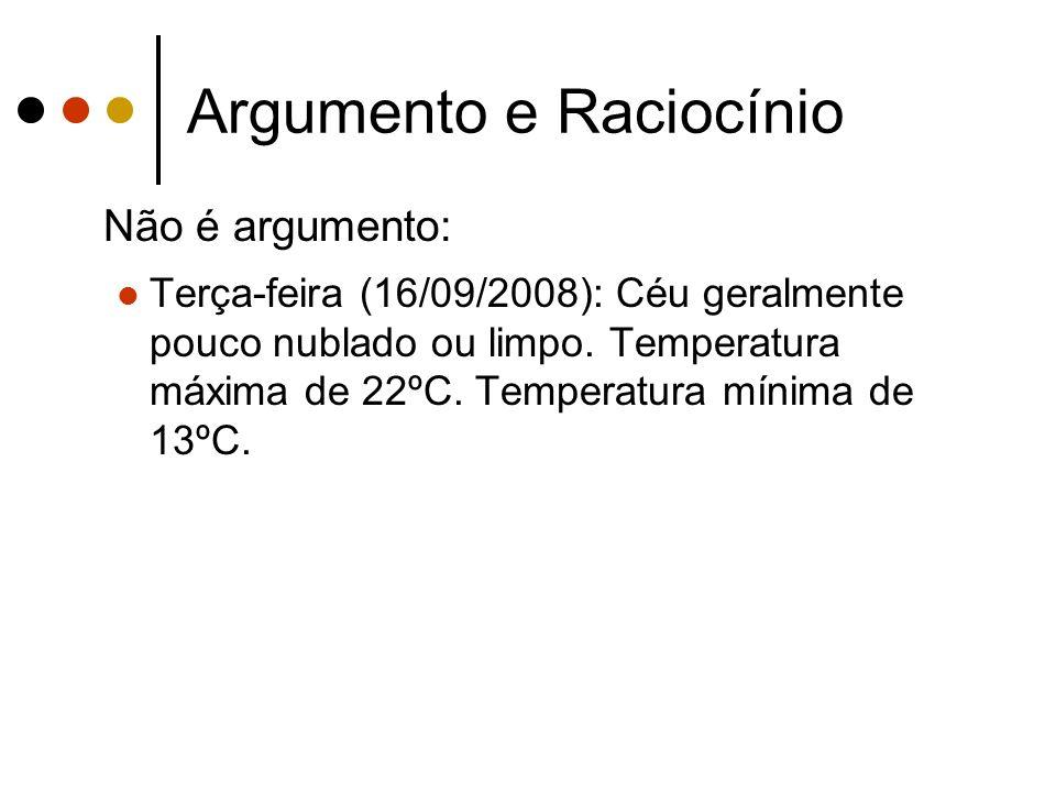 Argumento e Raciocínio Não é argumento: Terça-feira (16/09/2008): Céu geralmente pouco nublado ou limpo.