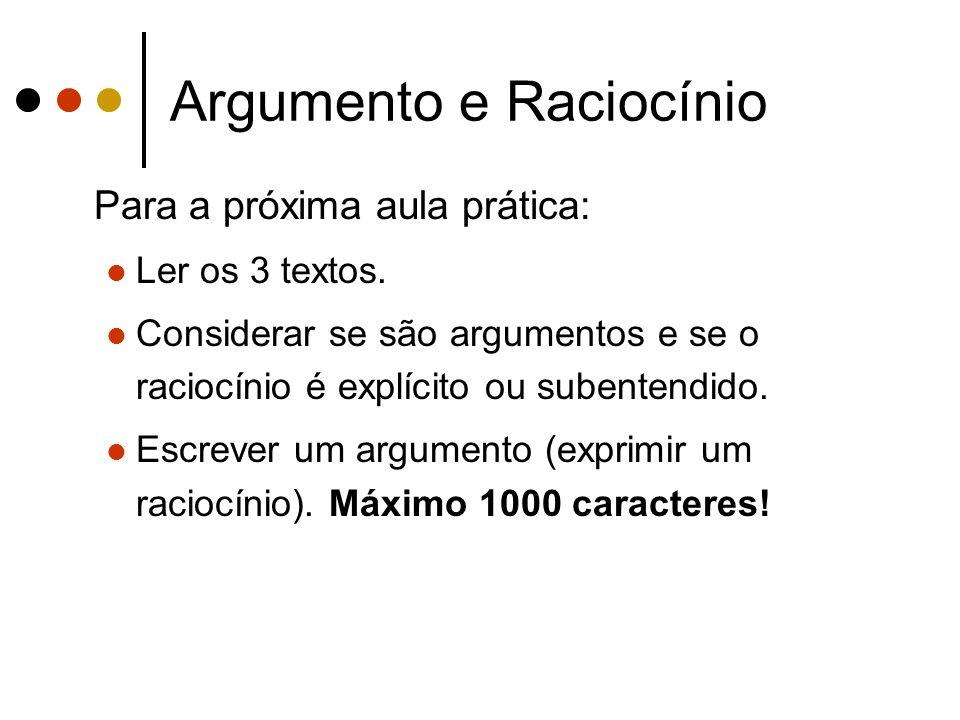 Argumento e Raciocínio Para a próxima aula prática: Ler os 3 textos.