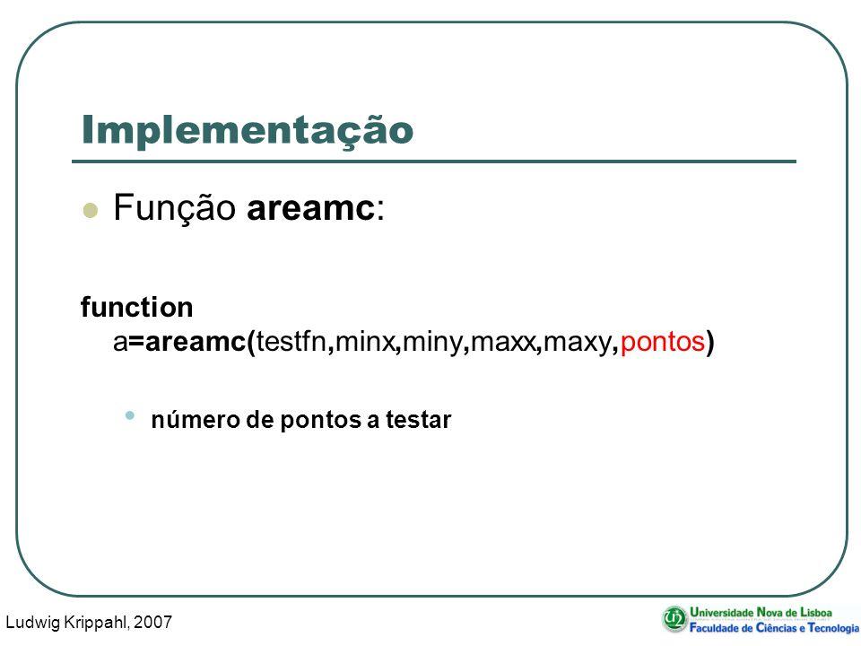 Ludwig Krippahl, 2007 21 Implementação Função areamc: function a=areamc(testfn,minx,miny,maxx,maxy,pontos) número de pontos a testar