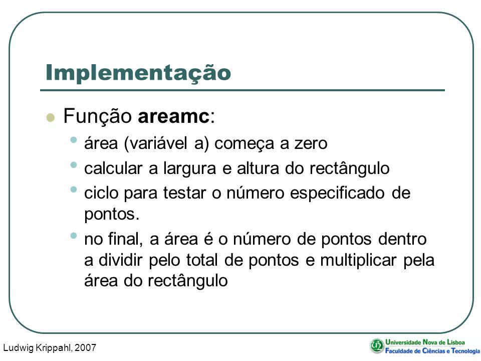 Ludwig Krippahl, 2007 22 Implementação Função areamc: área (variável a) começa a zero calcular a largura e altura do rectângulo ciclo para testar o número especificado de pontos.