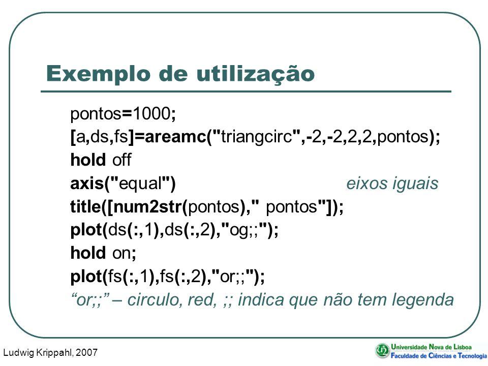 Ludwig Krippahl, 2007 26 Exemplo de utilização pontos=1000; [a,ds,fs]=areamc( triangcirc ,-2,-2,2,2,pontos); hold off axis( equal ) eixos iguais title([num2str(pontos), pontos ]); plot(ds(:,1),ds(:,2), og;; ); hold on; plot(fs(:,1),fs(:,2), or;; ); or;; – circulo, red, ;; indica que não tem legenda