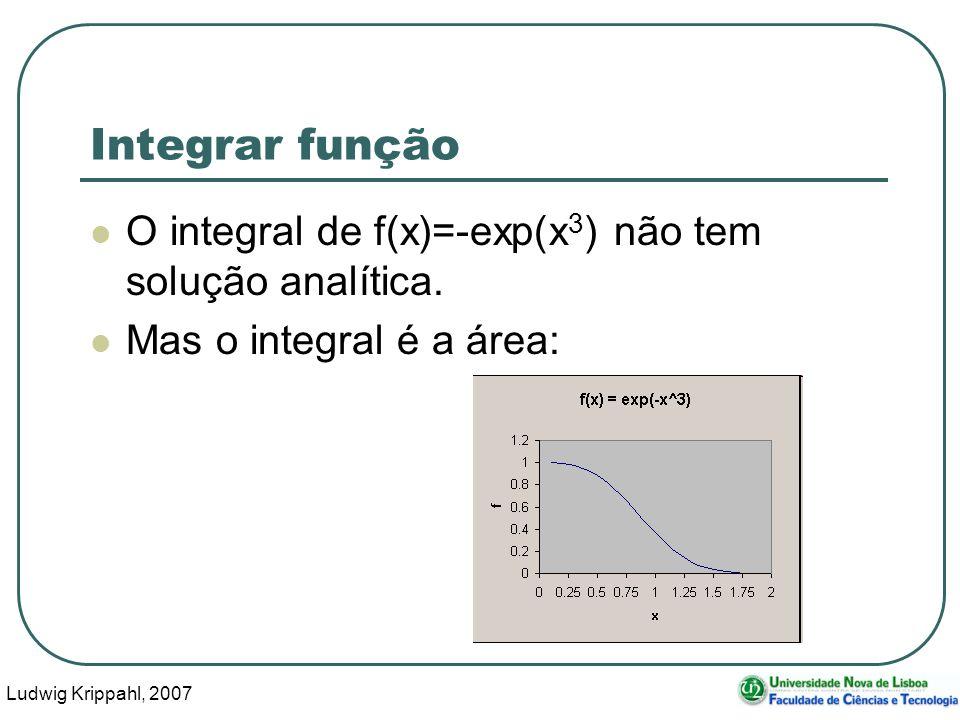 Ludwig Krippahl, 2007 31 Integrar função O integral de f(x)=-exp(x 3 ) não tem solução analítica.