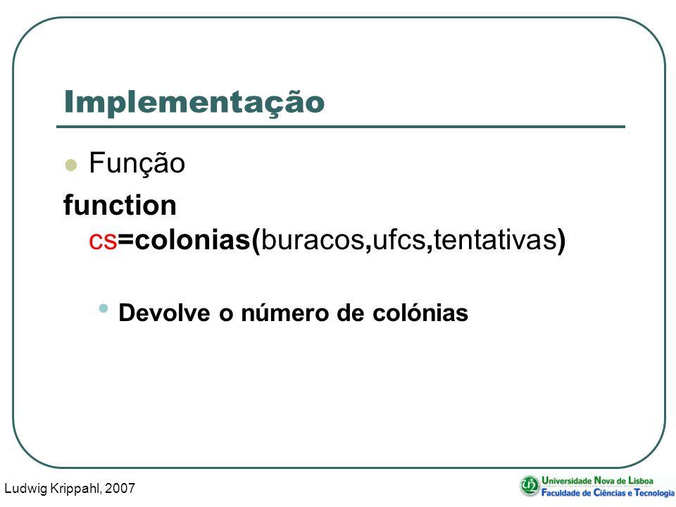 Ludwig Krippahl, 2007 40 Implementação Função function cs=colonias(buracos,ufcs,tentativas) Devolve o número de colónias