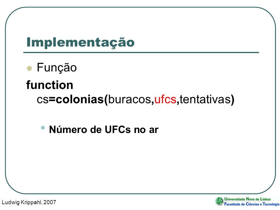 Ludwig Krippahl, 2007 42 Implementação Função function cs=colonias(buracos,ufcs,tentativas) Número de UFCs no ar