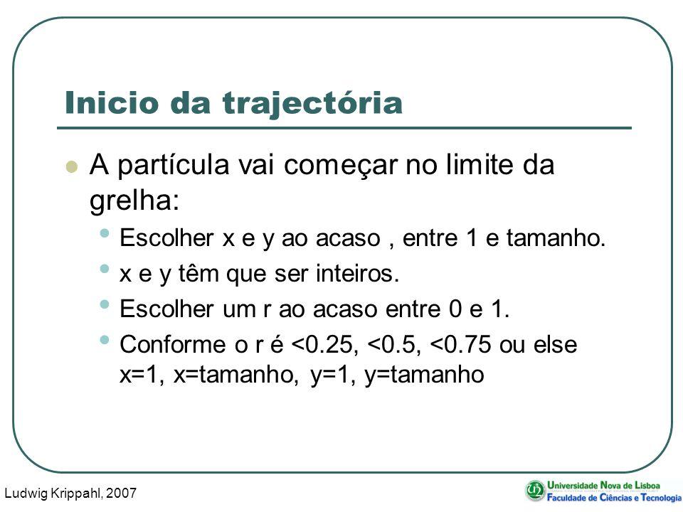 Ludwig Krippahl, 2007 59 Inicio da trajectória A partícula vai começar no limite da grelha: Escolher x e y ao acaso, entre 1 e tamanho.