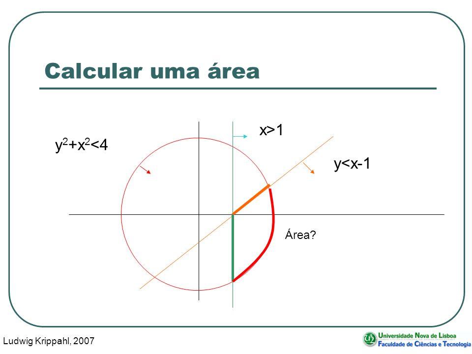 Ludwig Krippahl, 2007 6 Calcular uma área x>1 y<x-1 y 2 +x 2 <4 Área