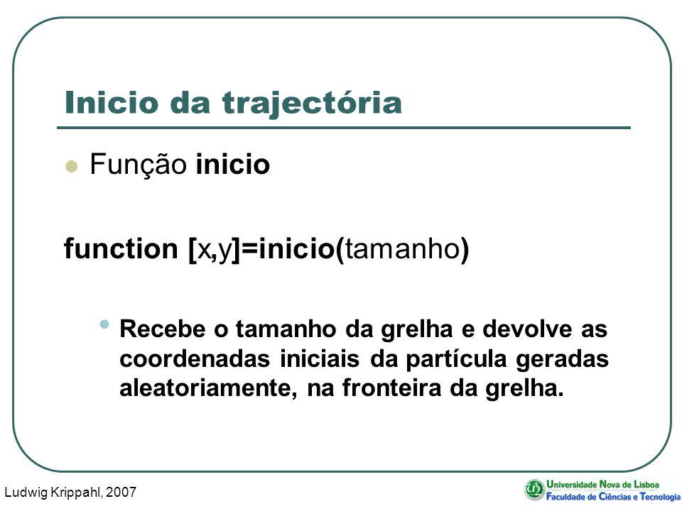 Ludwig Krippahl, 2007 61 Inicio da trajectória Função inicio function [x,y]=inicio(tamanho) Recebe o tamanho da grelha e devolve as coordenadas iniciais da partícula geradas aleatoriamente, na fronteira da grelha.