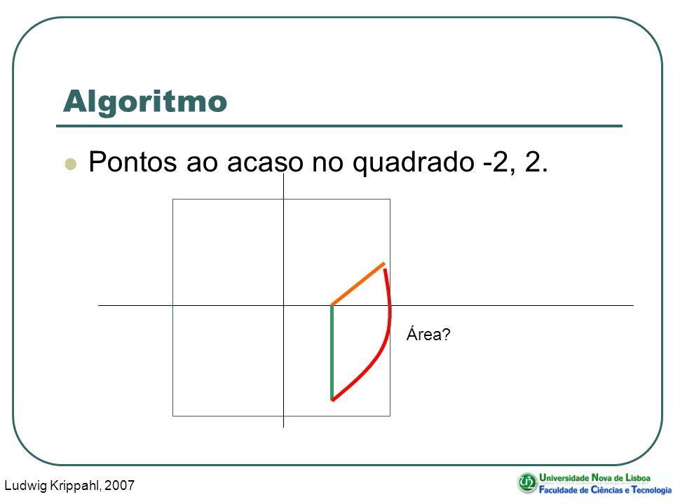 Ludwig Krippahl, 2007 7 Algoritmo Pontos ao acaso no quadrado -2, 2. Área