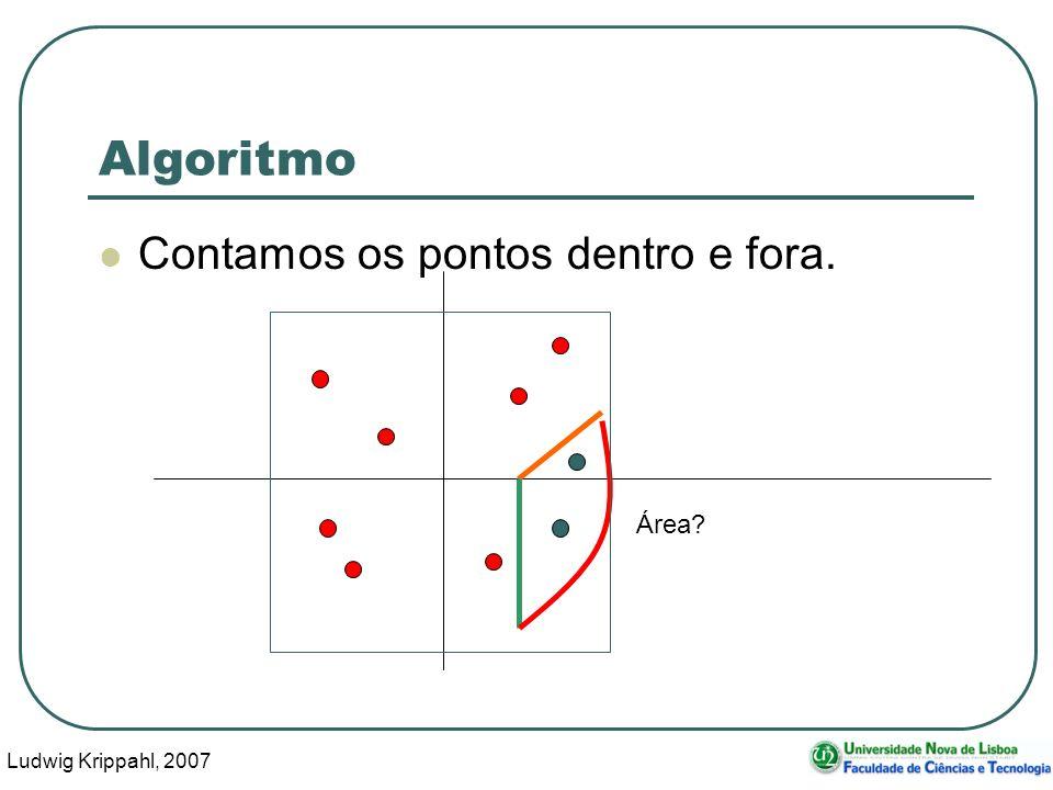 Ludwig Krippahl, 2007 8 Algoritmo Contamos os pontos dentro e fora. Área