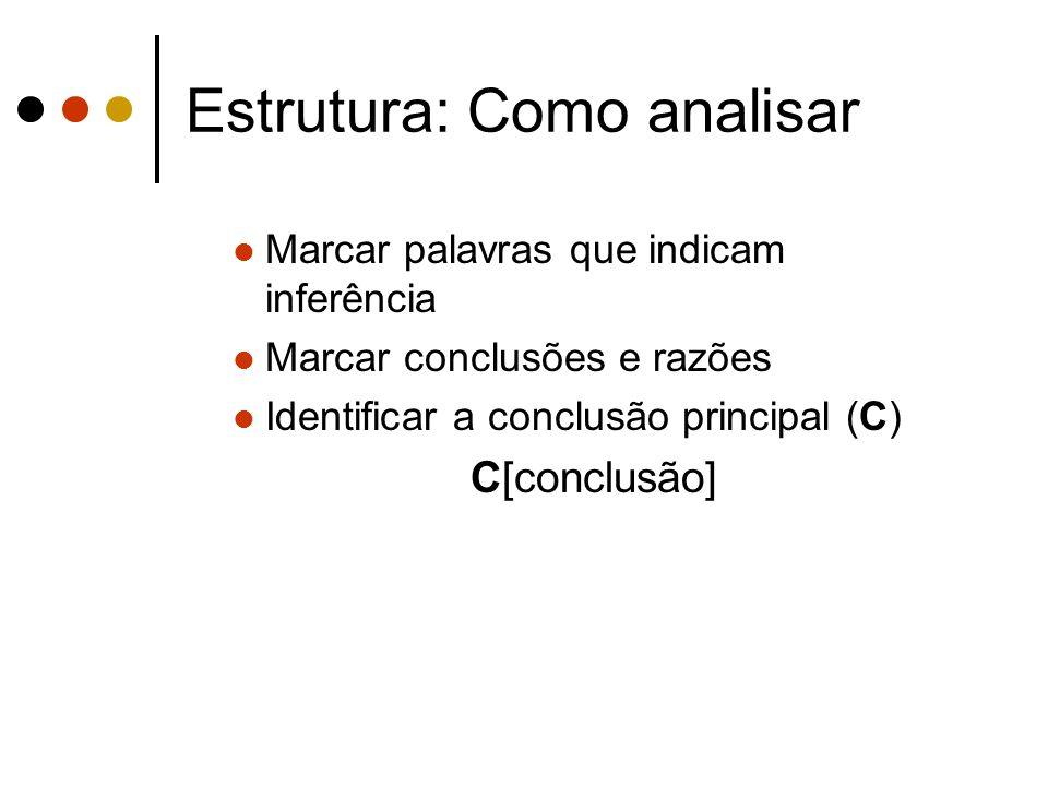 Estrutura: Como analisar Marcar palavras que indicam inferência Marcar conclusões e razões Identificar a conclusão principal (C) C[conclusão]