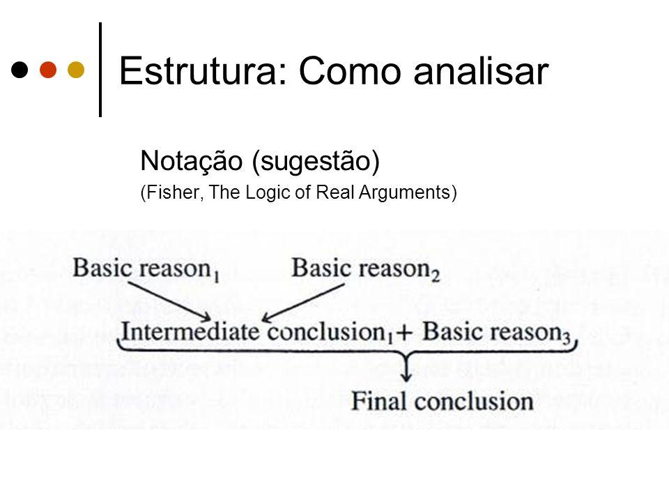 Estrutura: Como analisar Notação (sugestão) (Fisher, The Logic of Real Arguments)