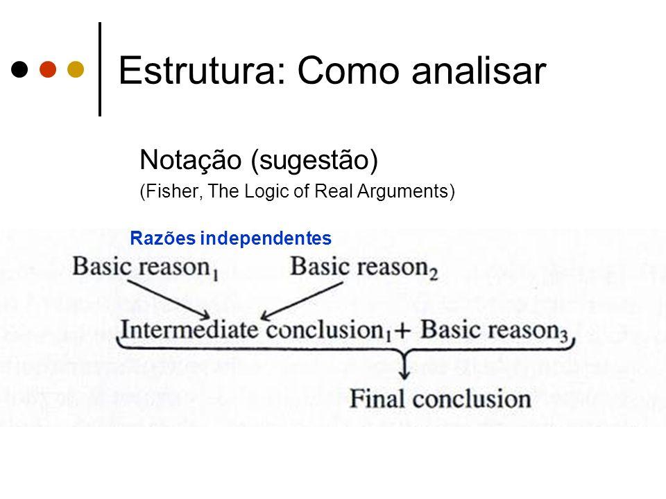Estrutura: Como analisar Notação (sugestão) (Fisher, The Logic of Real Arguments) Razões independentes