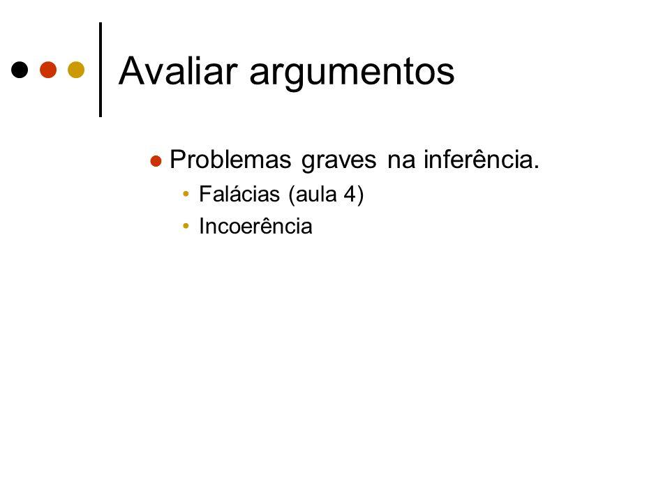 Avaliar argumentos Problemas graves na inferência. Falácias (aula 4) Incoerência