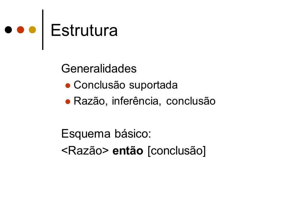 Estrutura Generalidades Conclusão suportada Razão, inferência, conclusão Esquema básico: então [conclusão]