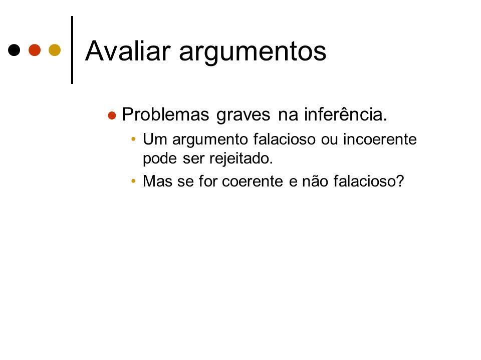 Avaliar argumentos Problemas graves na inferência. Um argumento falacioso ou incoerente pode ser rejeitado. Mas se for coerente e não falacioso?