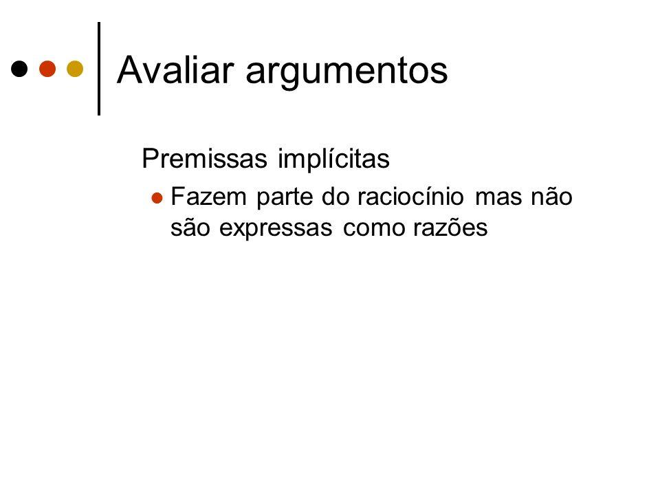 Avaliar argumentos Premissas implícitas Fazem parte do raciocínio mas não são expressas como razões