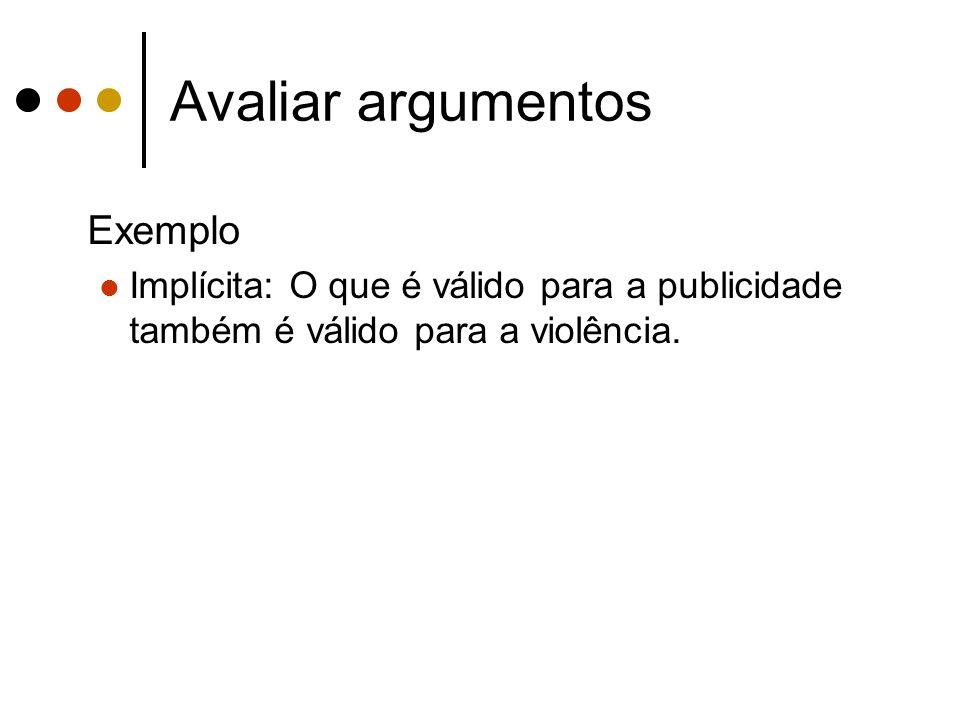 Avaliar argumentos Exemplo Implícita: O que é válido para a publicidade também é válido para a violência.