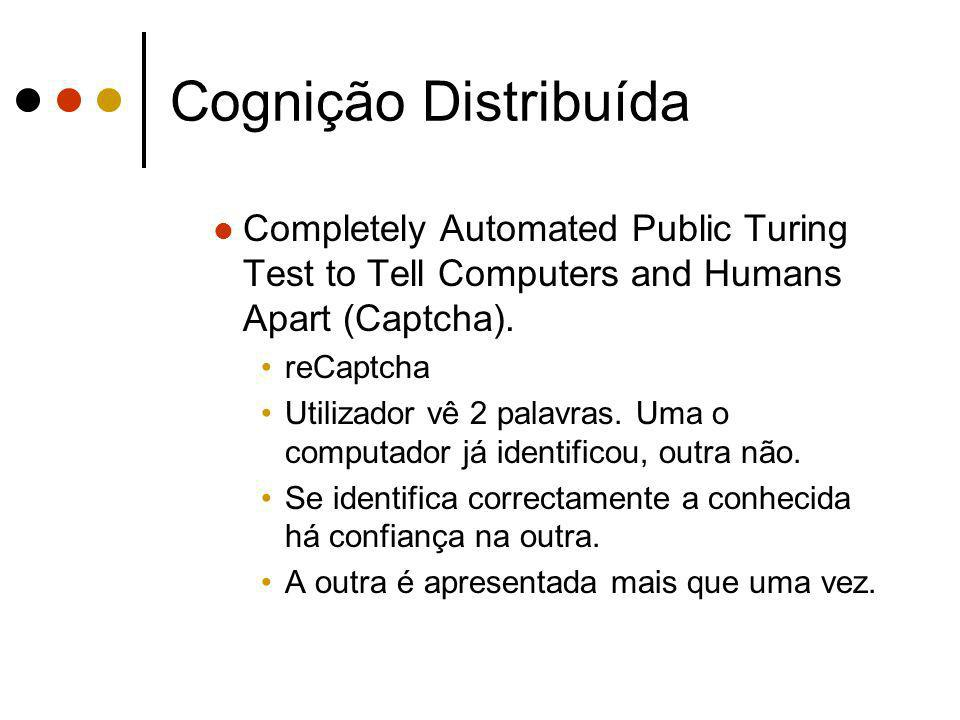 Cognição Distribuída Completely Automated Public Turing Test to Tell Computers and Humans Apart (Captcha). reCaptcha Utilizador vê 2 palavras. Uma o c