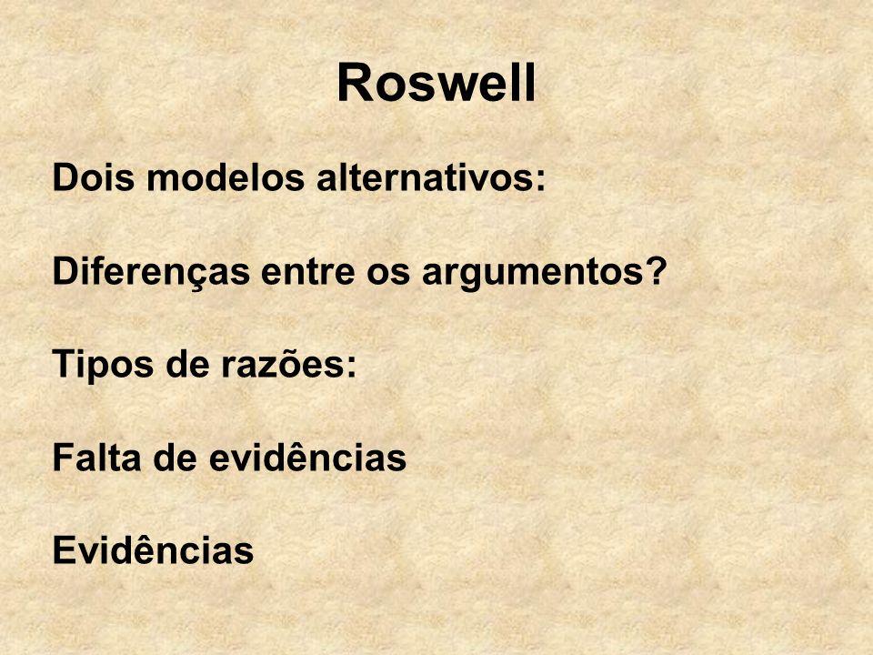 Roswell Dois modelos alternativos: Diferenças entre os argumentos? Tipos de razões: Falta de evidências Evidências