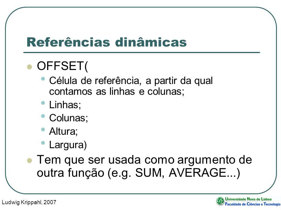 Ludwig Krippahl, 2007 13 Referências dinâmicas OFFSET( Célula de referência, a partir da qual contamos as linhas e colunas; Linhas; Colunas; Altura; Largura) Tem que ser usada como argumento de outra função (e.g.