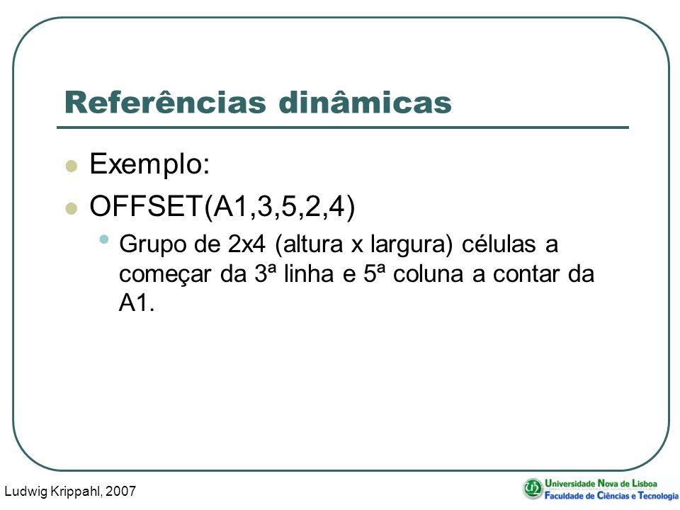 Ludwig Krippahl, 2007 14 Referências dinâmicas Exemplo: OFFSET(A1,3,5,2,4) Grupo de 2x4 (altura x largura) células a começar da 3ª linha e 5ª coluna a contar da A1.
