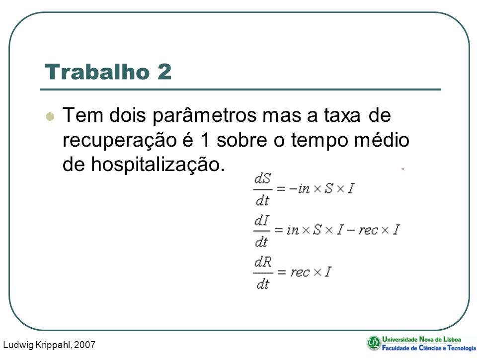 Ludwig Krippahl, 2007 23 Trabalho 2 Tem dois parâmetros mas a taxa de recuperação é 1 sobre o tempo médio de hospitalização.