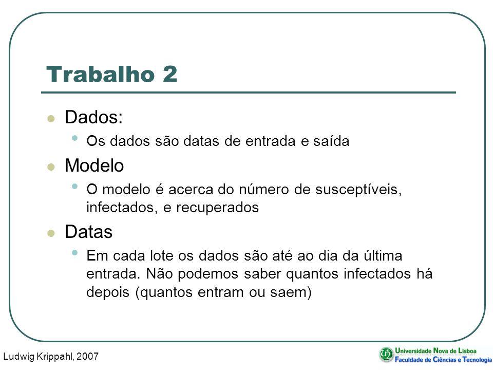 Ludwig Krippahl, 2007 28 Trabalho 2 Dados: Os dados são datas de entrada e saída Modelo O modelo é acerca do número de susceptíveis, infectados, e recuperados Datas Em cada lote os dados são até ao dia da última entrada.