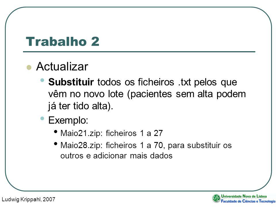 Ludwig Krippahl, 2007 29 Trabalho 2 Actualizar Substituir todos os ficheiros.txt pelos que vêm no novo lote (pacientes sem alta podem já ter tido alta).