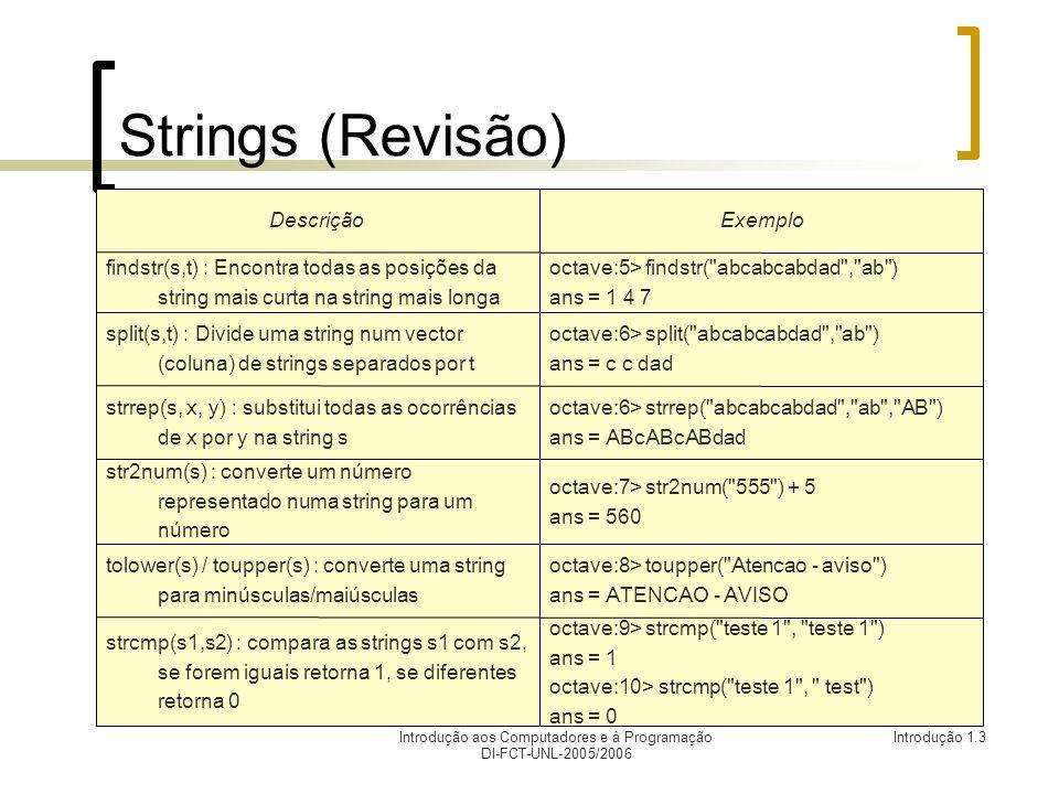 Introdução aos Computadores e à Programação DI-FCT-UNL-2005/2006 Introdução 1.3 Strings (Revisão) octave:9> strcmp( teste 1 , teste 1 ) ans = 1 octave:10> strcmp( teste 1 , test ) ans = 0 strcmp(s1,s2) : compara as strings s1 com s2, se forem iguais retorna 1, se diferentes retorna 0 octave:8> toupper( Atencao - aviso ) ans = ATENCAO - AVISO tolower(s) / toupper(s) : converte uma string para minúsculas/maiúsculas octave:7> str2num( 555 ) + 5 ans = 560 str2num(s) : converte um número representado numa string para um número octave:6> strrep( abcabcabdad , ab , AB ) ans = ABcABcABdad strrep(s, x, y) : substitui todas as ocorrências de x por y na string s octave:6> split( abcabcabdad , ab ) ans = c c dad split(s,t) : Divide uma string num vector (coluna) de strings separados por t octave:5> findstr( abcabcabdad , ab ) ans = 1 4 7 findstr(s,t) : Encontra todas as posições da string mais curta na string mais longa ExemploDescrição