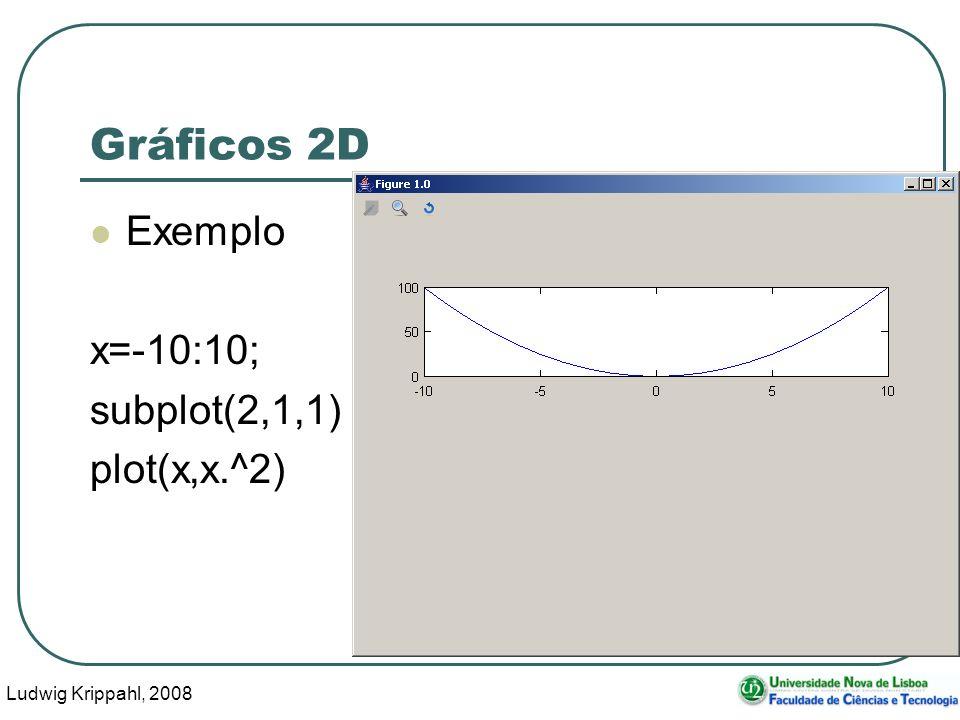 Ludwig Krippahl, 2008 13 Gráficos 2D Exemplo x=-10:10; subplot(2,1,1) plot(x,x.^2)