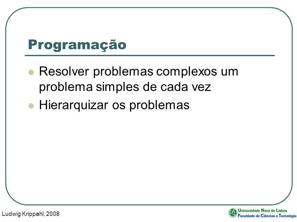 Ludwig Krippahl, 2008 22 Programação Resolver problemas complexos um problema simples de cada vez Hierarquizar os problemas