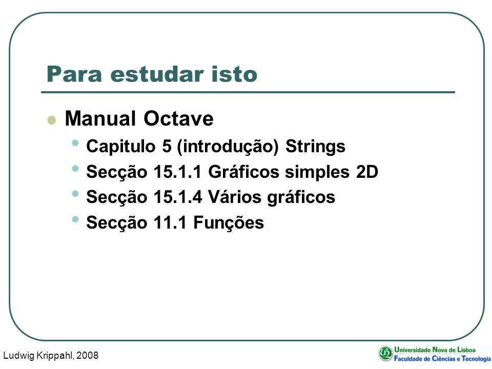 Ludwig Krippahl, 2008 46 Para estudar isto Manual Octave Capitulo 5 (introdução) Strings Secção 15.1.1 Gráficos simples 2D Secção 15.1.4 Vários gráficos Secção 11.1 Funções
