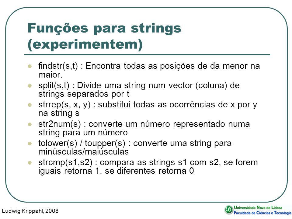 Ludwig Krippahl, 2008 6 Funções para strings (experimentem) findstr(s,t) : Encontra todas as posições de da menor na maior.